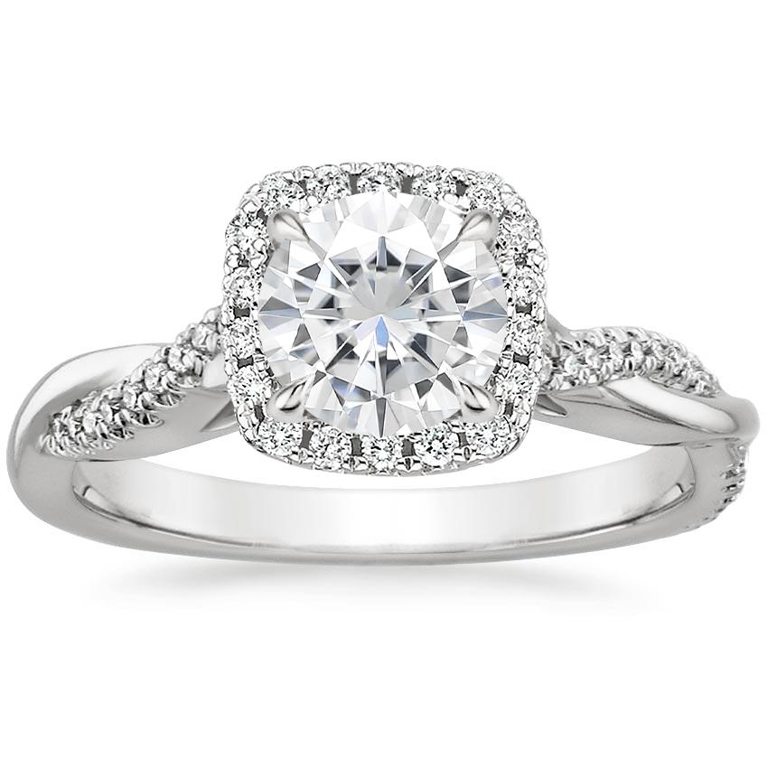 Moissanite Petite Twisted Vine Halo Diamond Ring (1/4 ct. tw.) in 18K White Gold