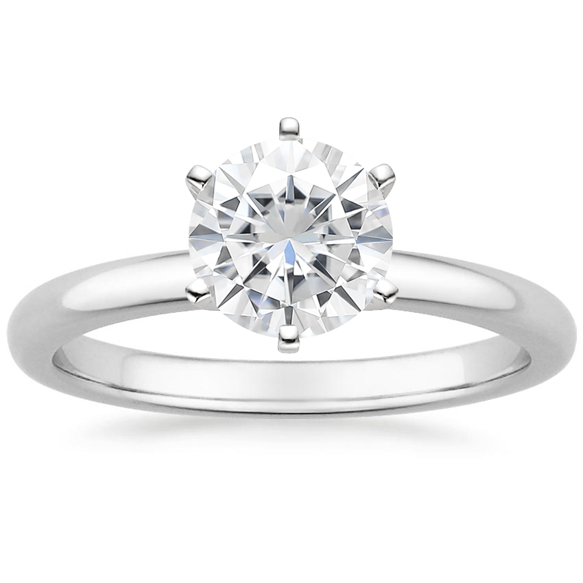 Moissanite Six-Prong 2mm Comfort Fit Ring in Platinum
