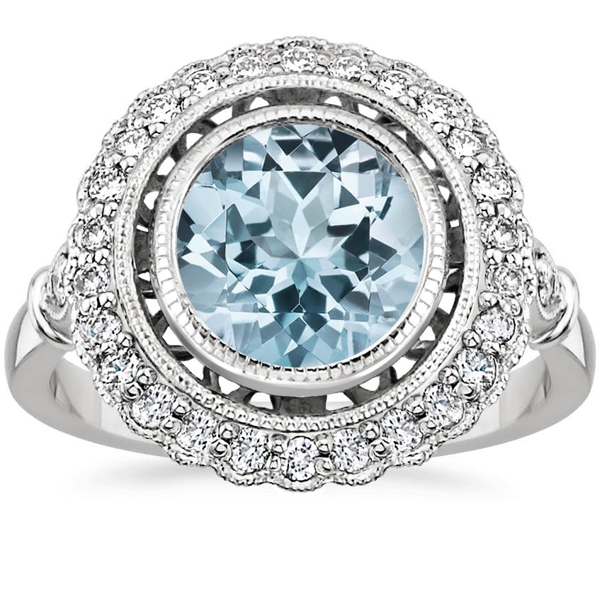 Aquamarine Bella Diamond Ring in 18K White Gold