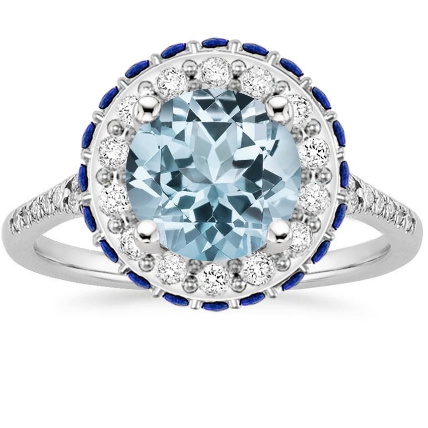 Aquamarine Circa Diamond Ring with Sapphire Accents (1/3 ct. tw.) in 18K White Gold
