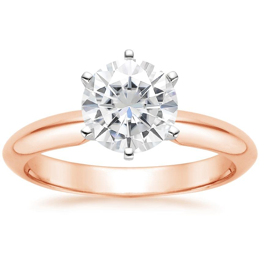 Rose Gold Moissanite Six-Prong Classic Ring