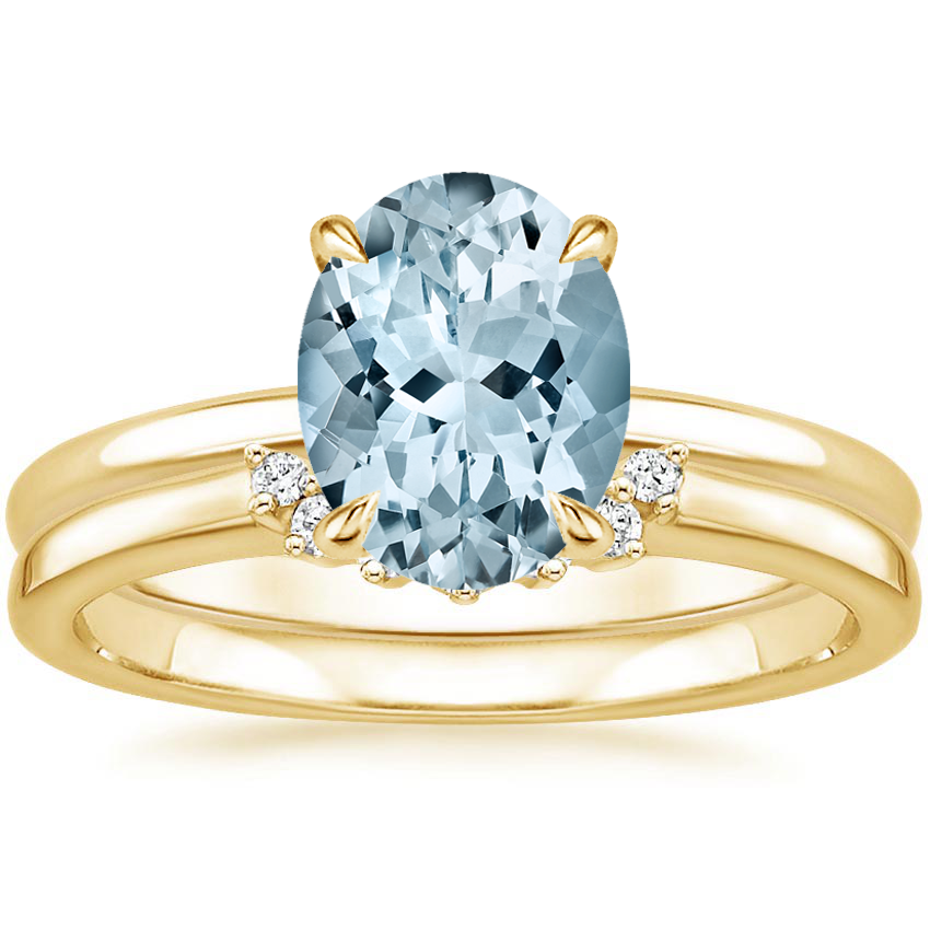 18KY Aquamarine Elodie Ring with Crescent Diamond Ring, top view