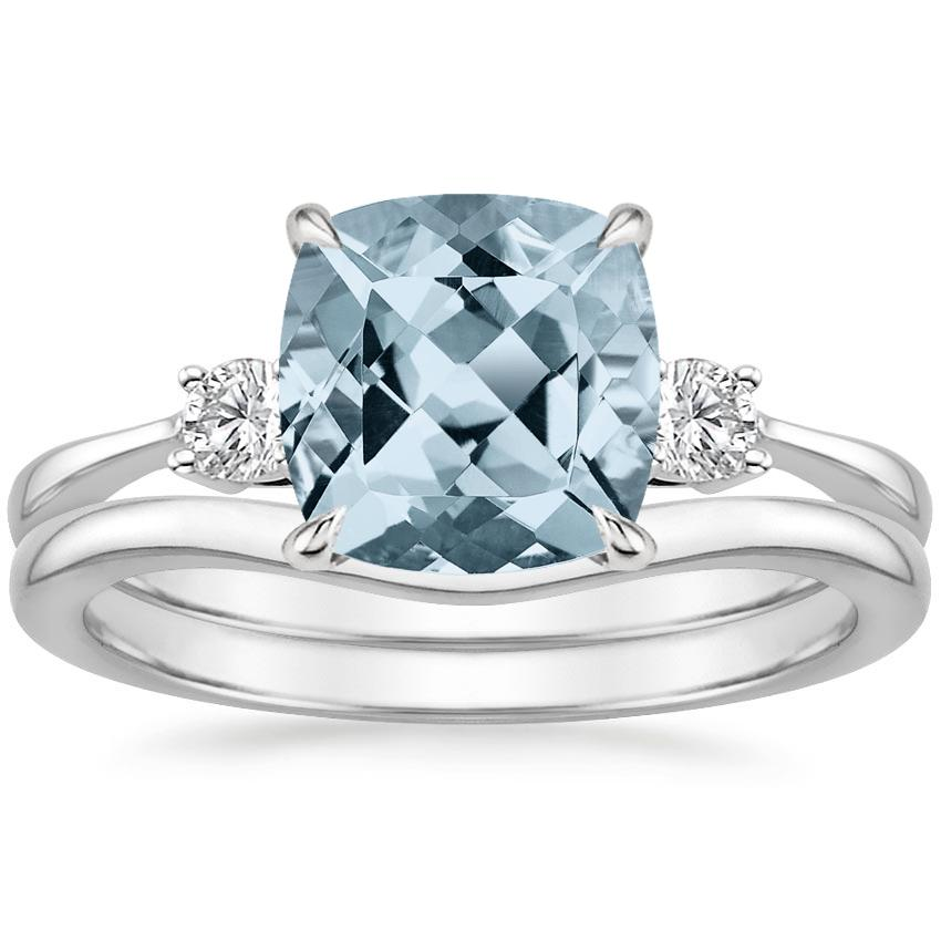 18KW Aquamarine Selene Diamond Ring with Petite Curved Wedding Ring, top view
