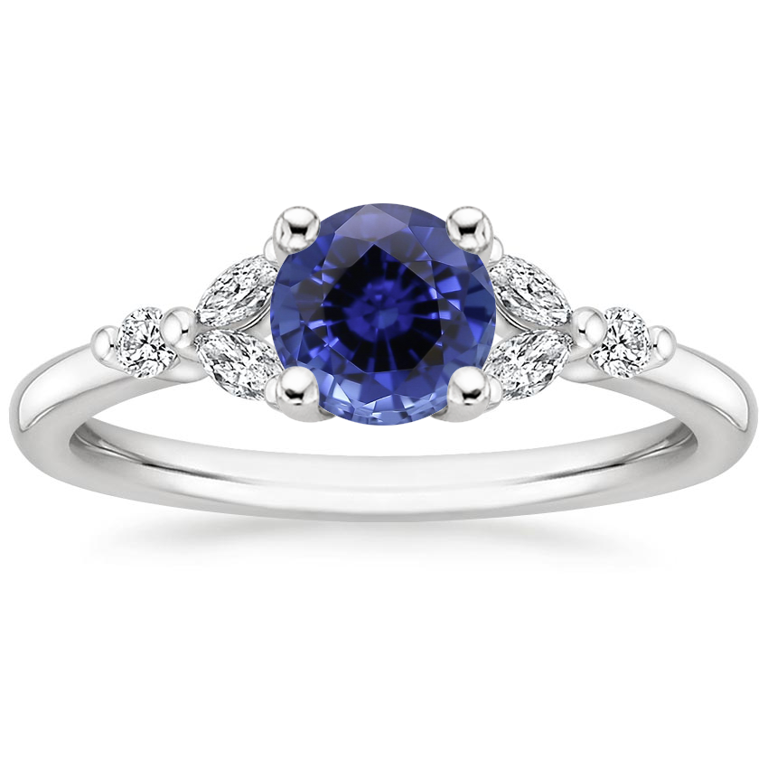 Sapphire Verbena Diamond Ring in 18K White Gold