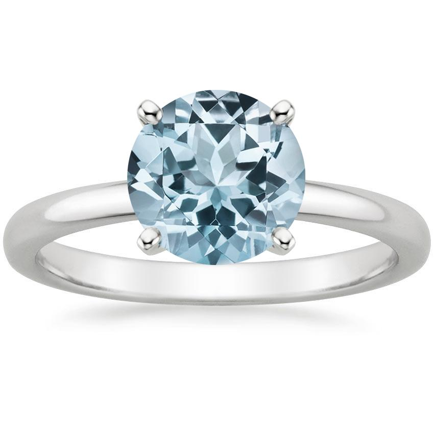 Aquamarine 2mm Comfort Fit Ring in Platinum