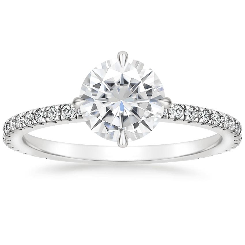 Moissanite Polaris Diamond Ring in 18K White Gold