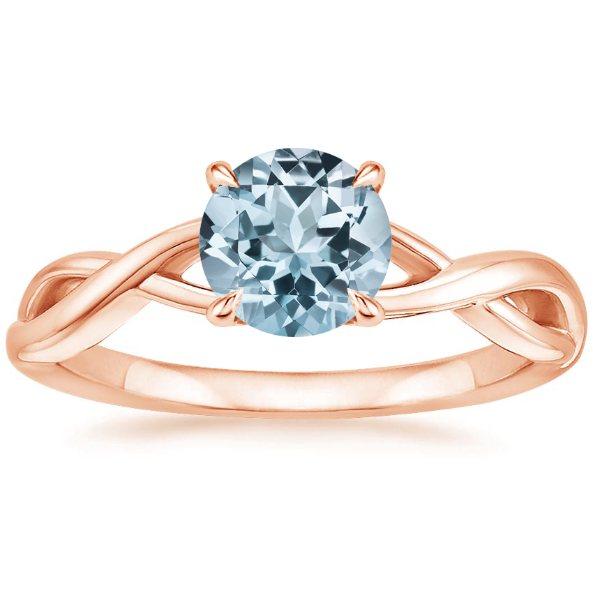 Rose Gold Aquamarine Eden Diamond Ring