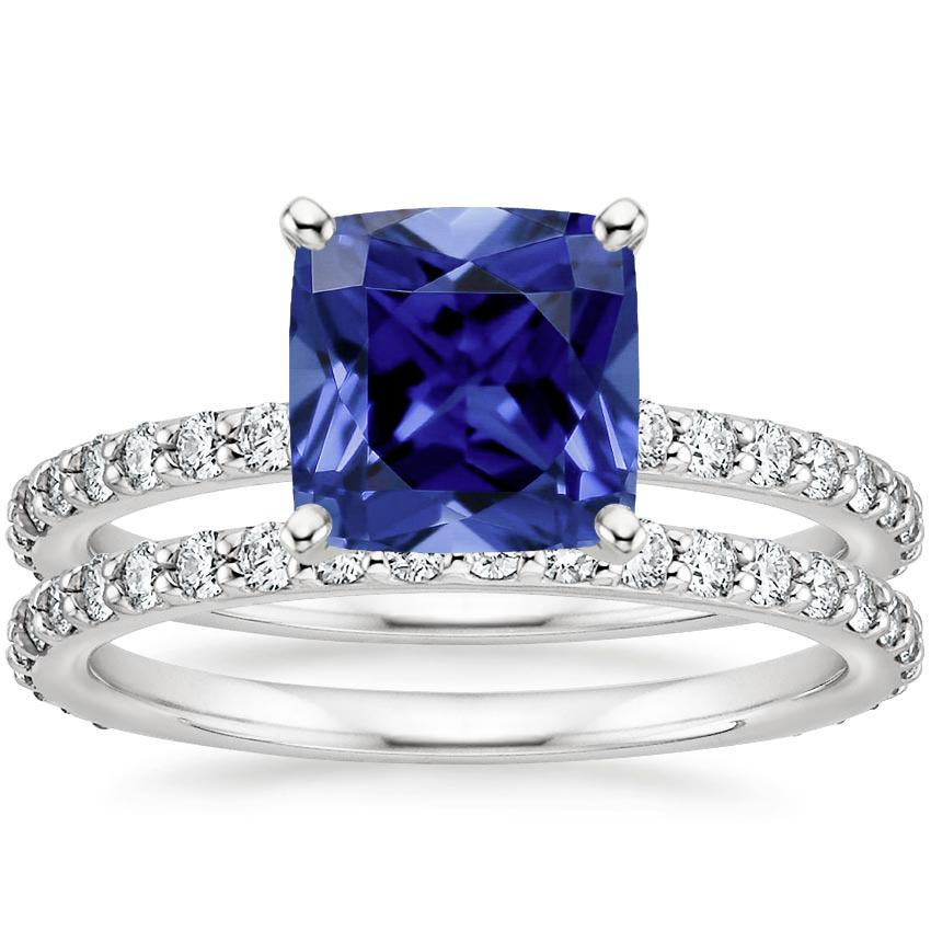 PT Sapphire Luxe Petite Shared Prong Diamond Bridal Set (3/4 ct. tw.), top view