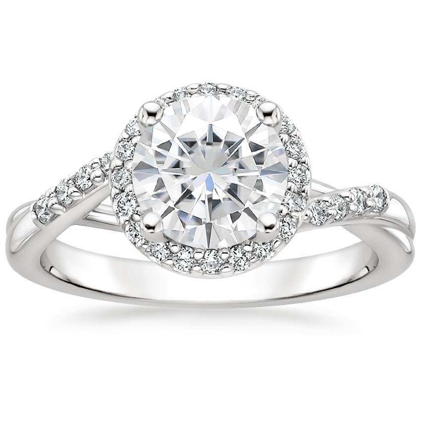 Moissanite Chamise Halo Diamond Ring (1/5 ct. tw.) in 18K White Gold