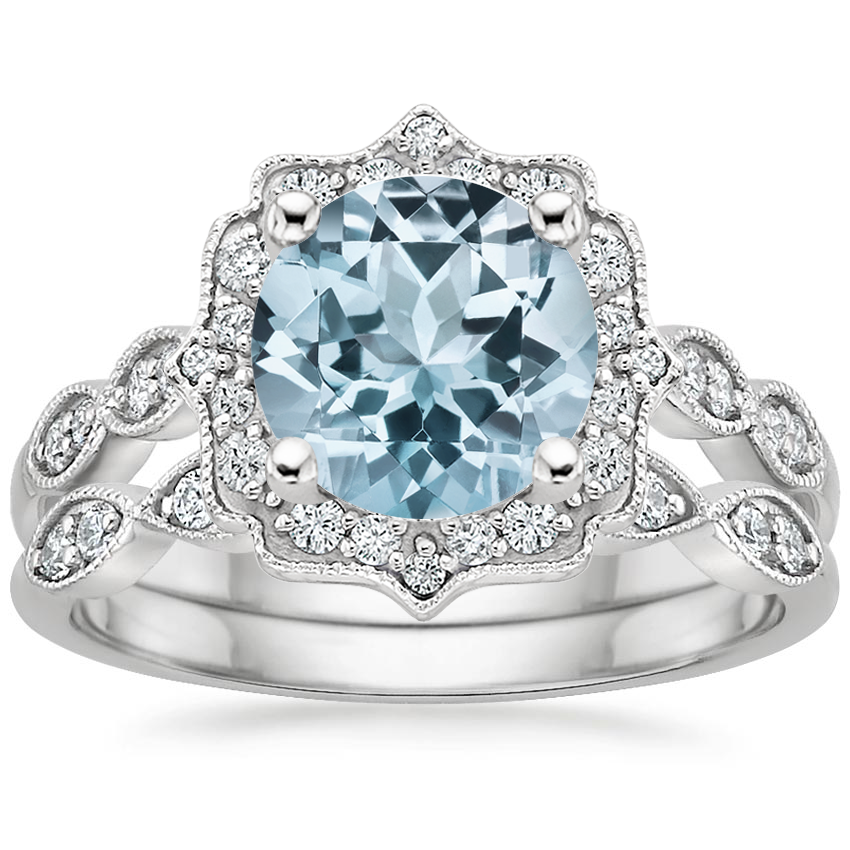 PT Aquamarine Cadenza Halo Diamond Bridal Set (1/4 ct. tw.), top view