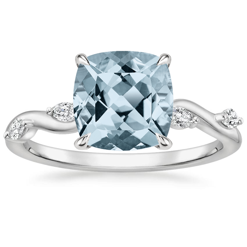 Aquamarine Winding Willow Diamond Ring in 18K White Gold