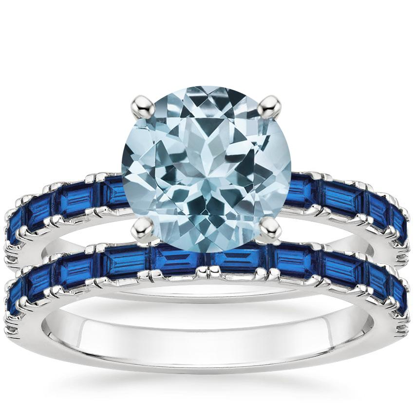 18KW Aquamarine Gemma Bridal Set with Sapphire Accents, top view