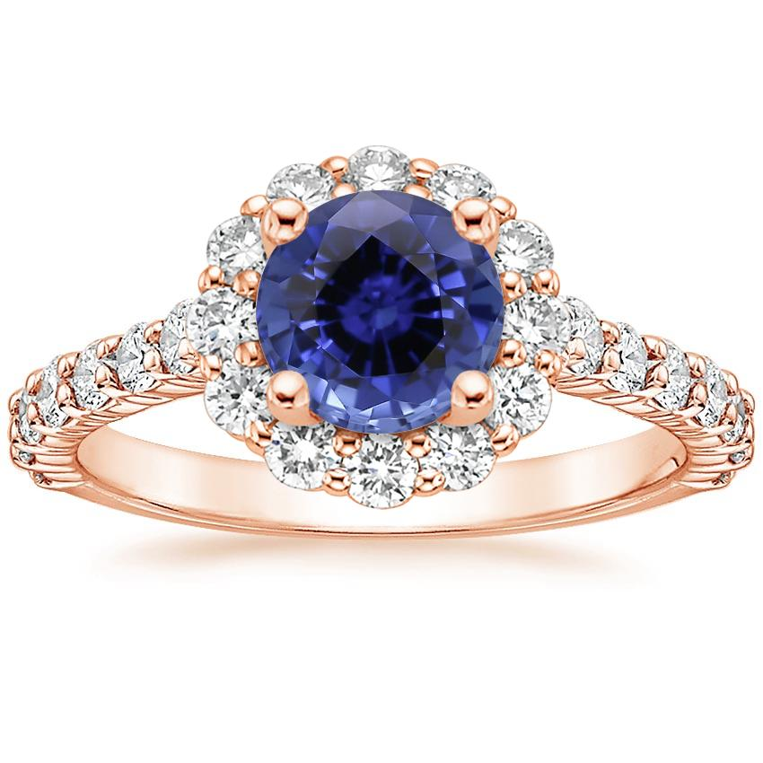 Rose Gold Sapphire Lotus Flower Diamond Ring with Side Stones (3/4 ct. tw.)