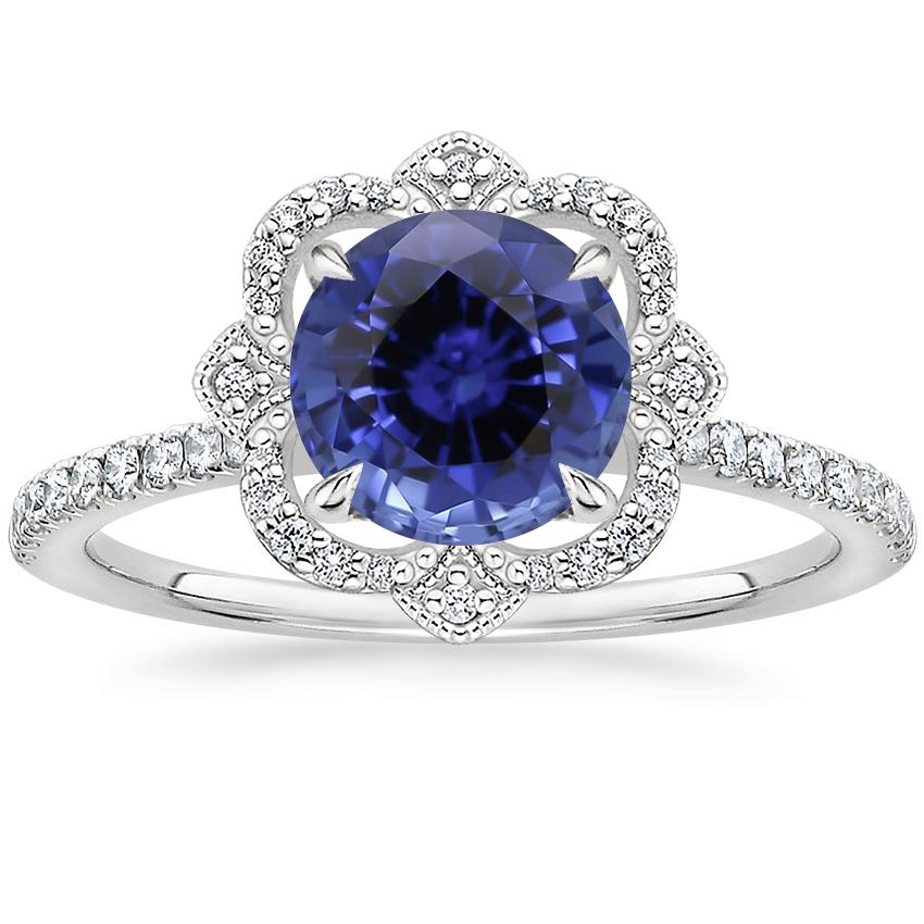 Sapphire Reina Diamond Ring in 18K White Gold