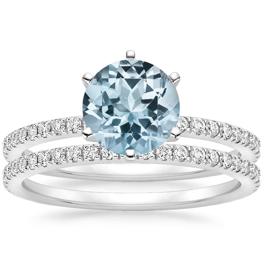PT Aquamarine Lyric Diamond Ring with Luxe Ballad Diamond Ring (1/4 ct. tw.), top view