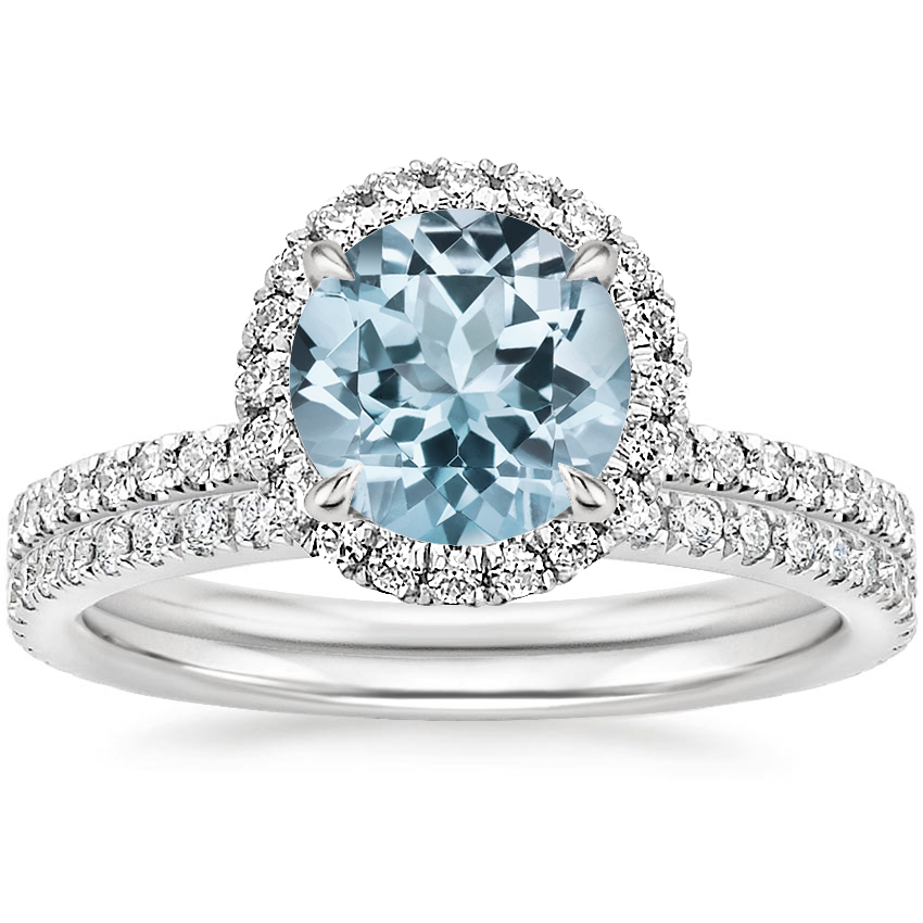 PT Aquamarine Waverly Diamond Bridal Set (2/3 ct. tw.), top view