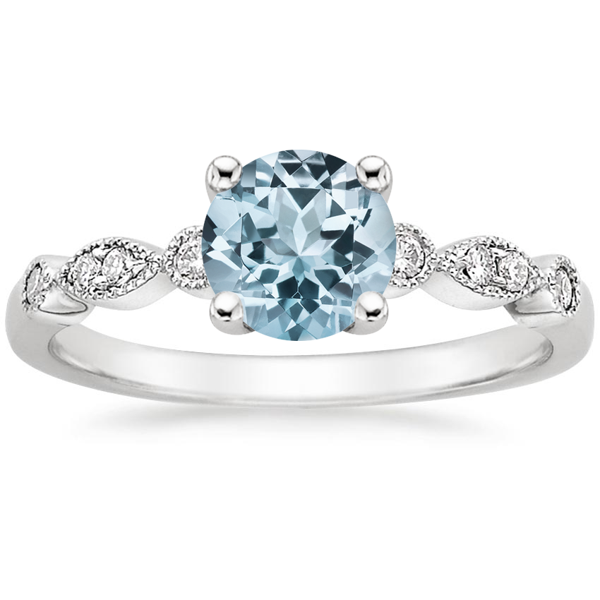 Aquamarine Tiara Diamond Ring (1/10 ct. tw.) in 18K White Gold