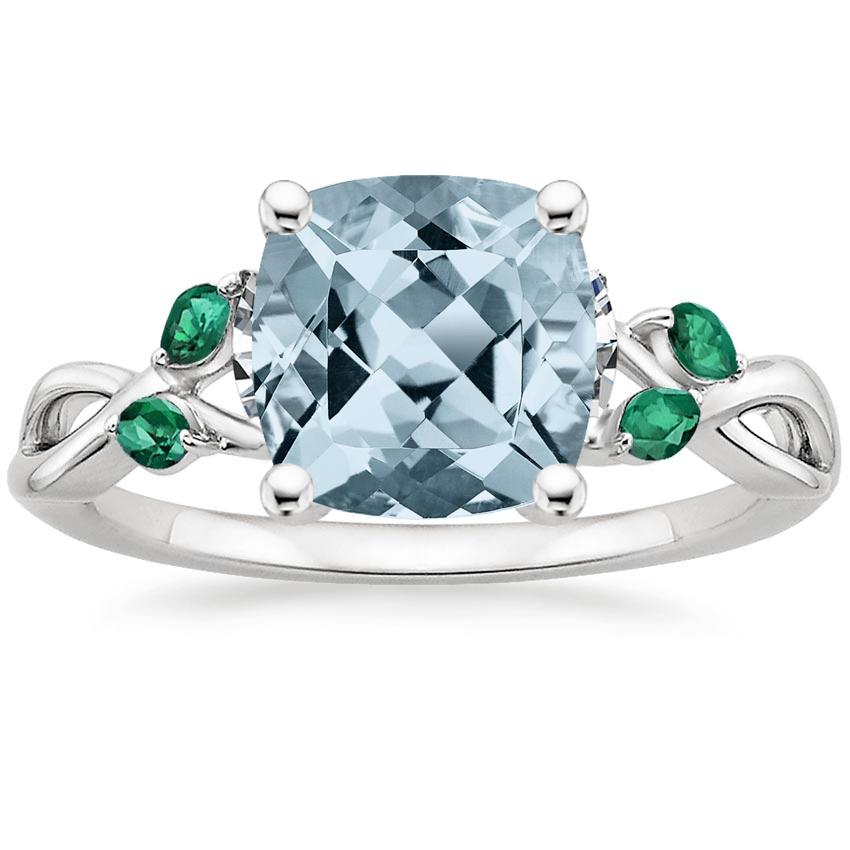 Aquamarine Willow Ring With Lab Emerald Accents in 18K White Gold