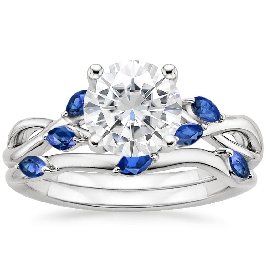 18KW Moissanite Willow Bridal Set With Sapphire Accents, top view
