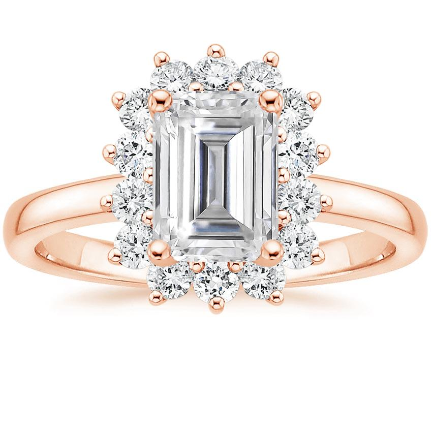 Rose Gold Moissanite Sunburst Diamond Ring (1/4 ct. tw.)