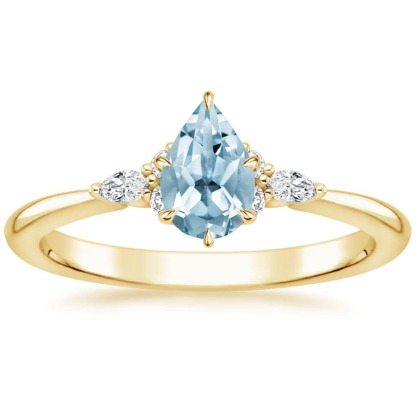 Yellow Gold Aquamarine Nadia Diamond Ring