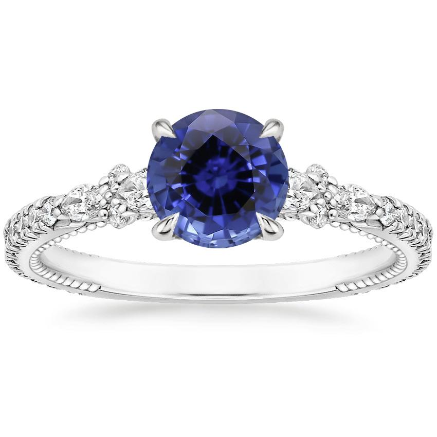 Sapphire Primrose Diamond Ring in 18K White Gold