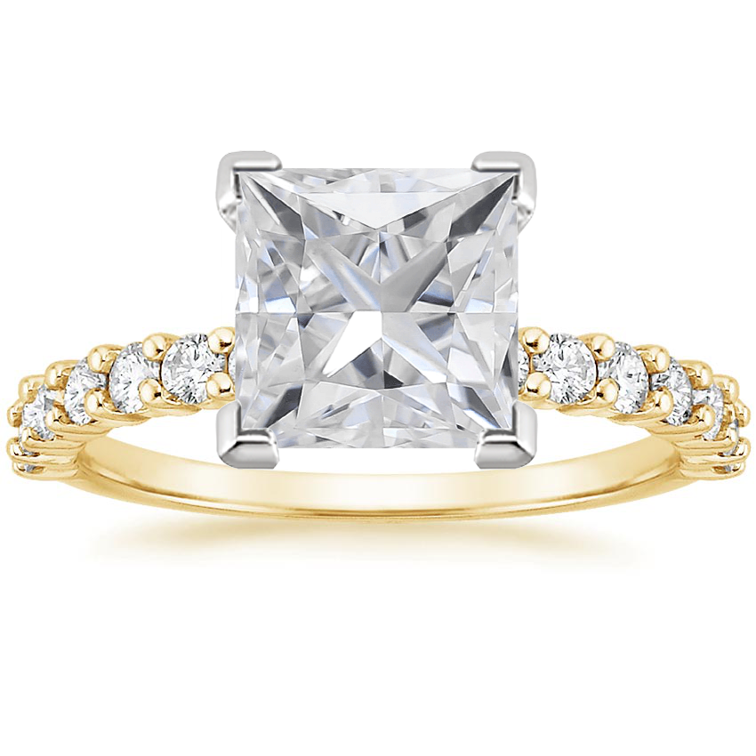 Yellow Gold Moissanite Shared Prong Diamond Ring (3/8 ct. tw.)