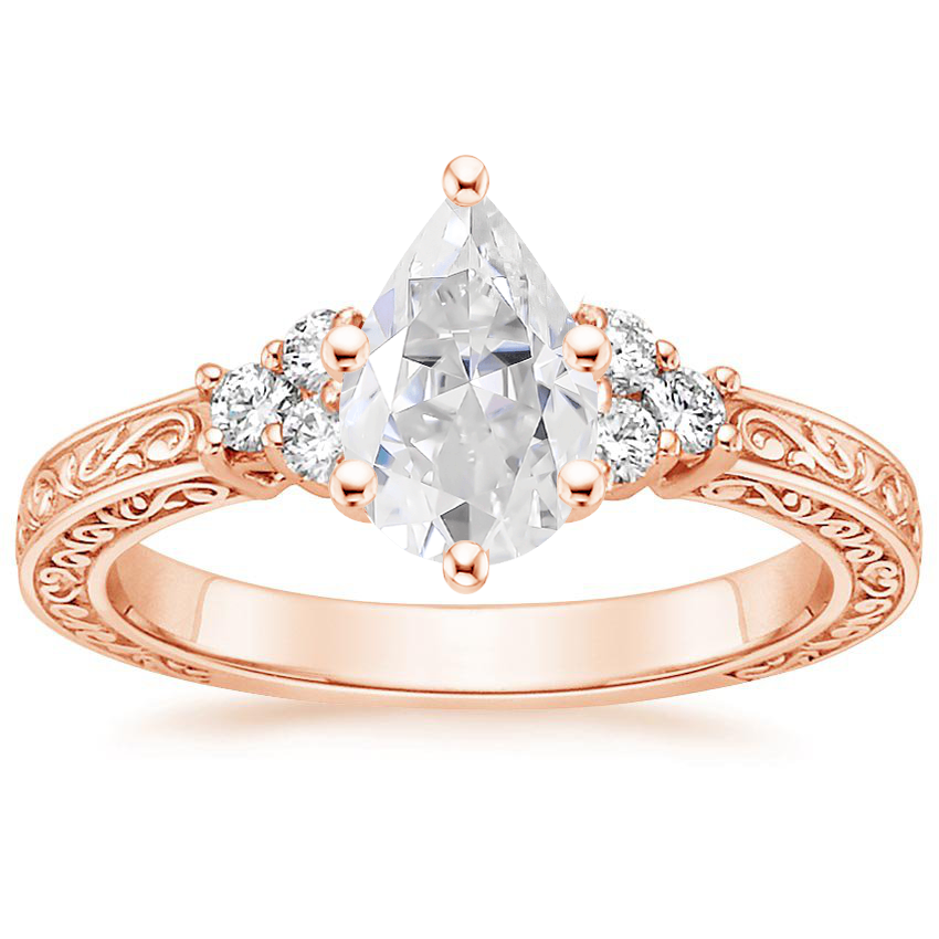 Rose Gold Moissanite Adorned Trio Diamond Ring
