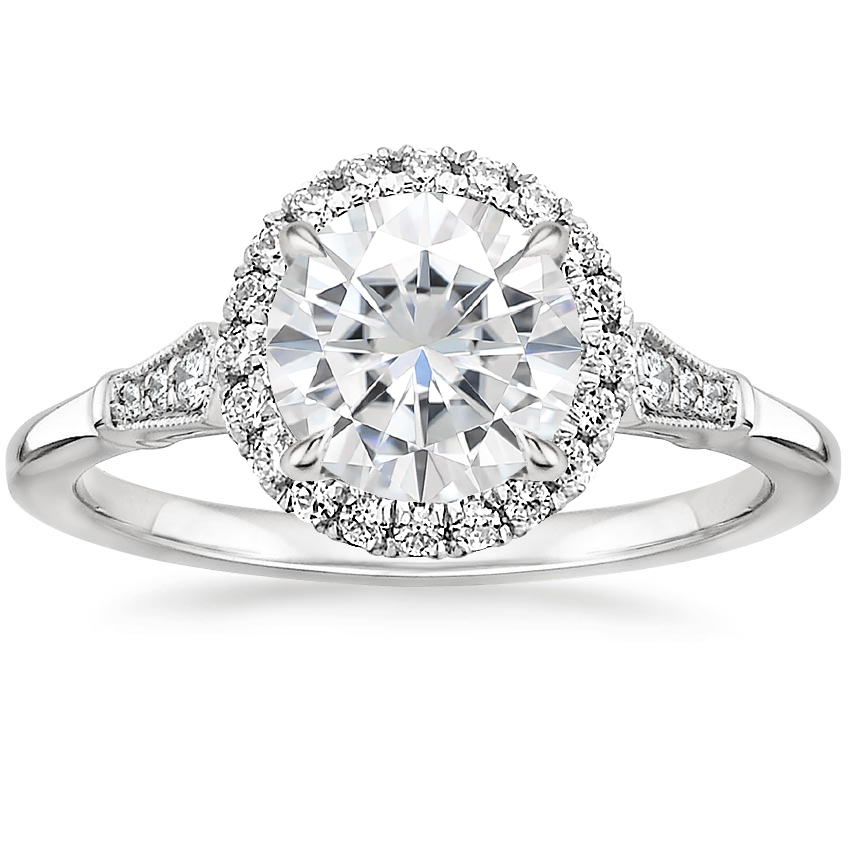 Moissanite Linden Diamond Ring in 18K White Gold