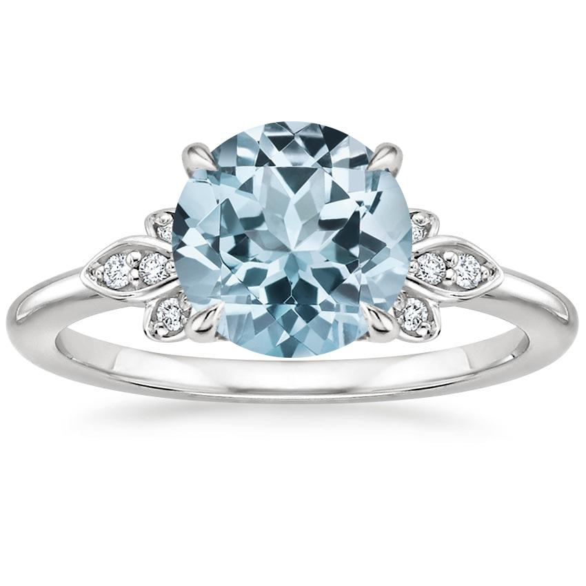 Aquamarine Fiorella Diamond Ring in 18K White Gold