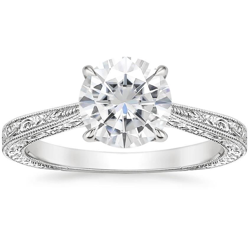 Moissanite Elsie Ring in 18K White Gold