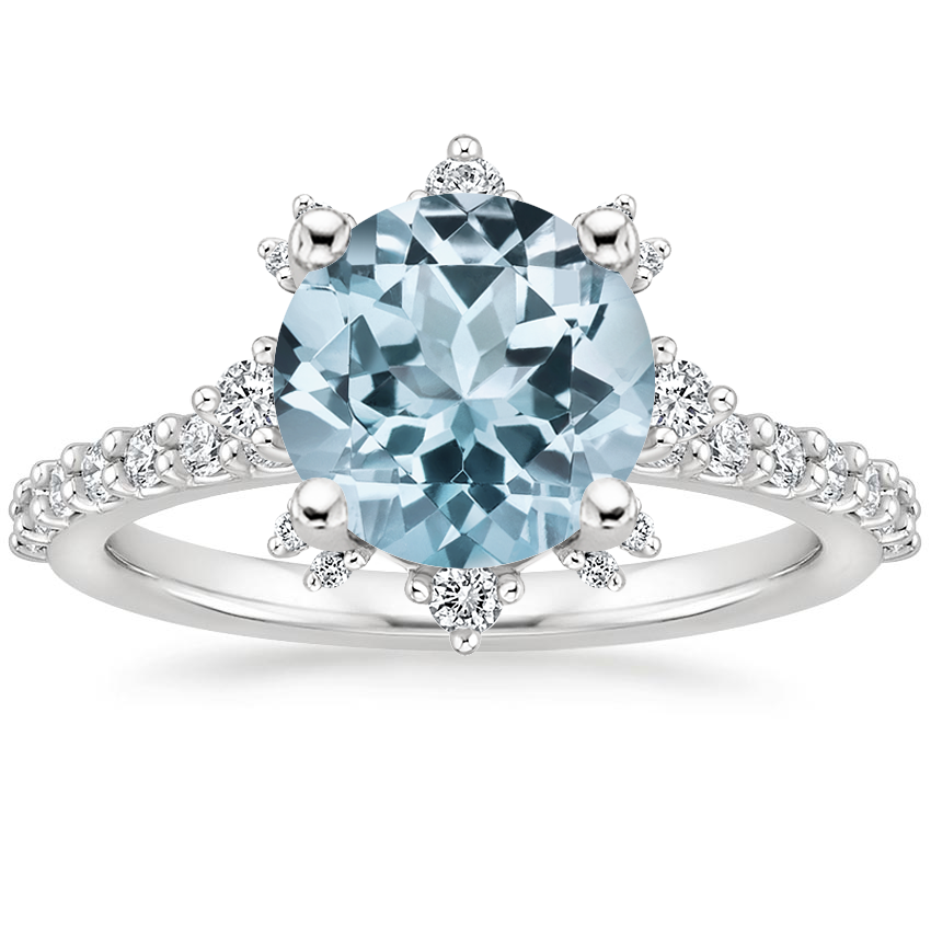 Aquamarine Arabella Diamond Ring (1/3 ct. tw.) in 18K White Gold