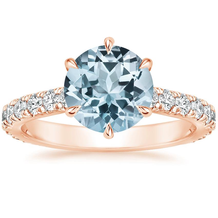 Rose Gold Aquamarine Luxe Sienna Diamond Ring (1/2 ct. tw.)