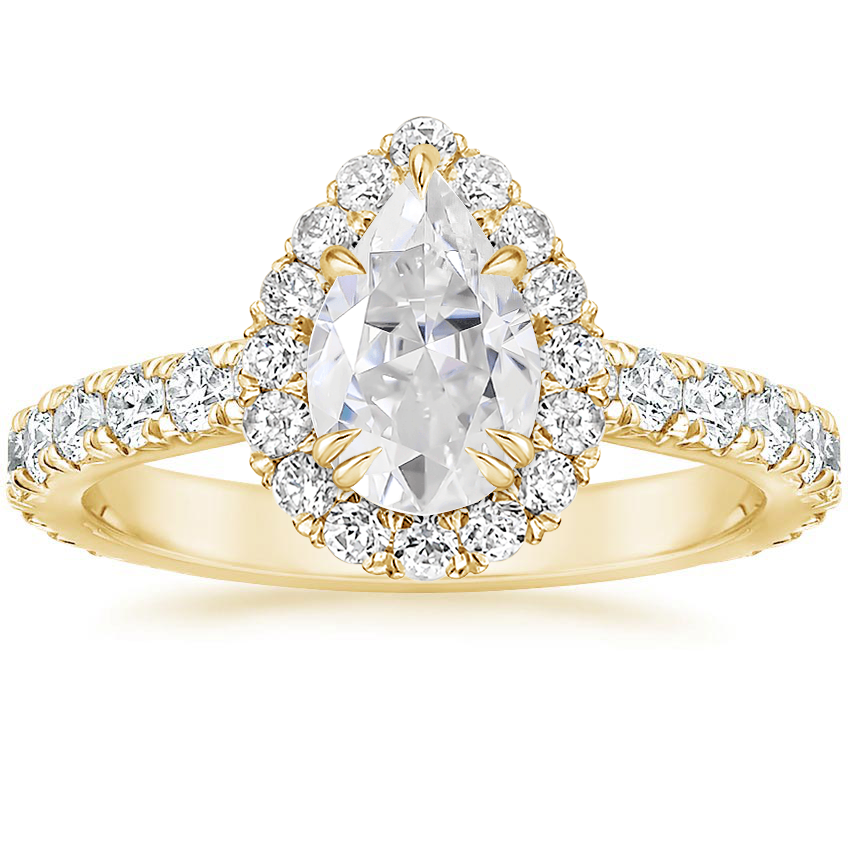 Yellow Gold Moissanite Luxe Sienna Halo Diamond Ring (3/4 ct. tw.)