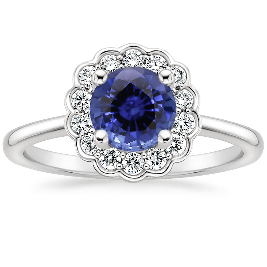 Sapphire Violette Diamond Ring in 18K White Gold