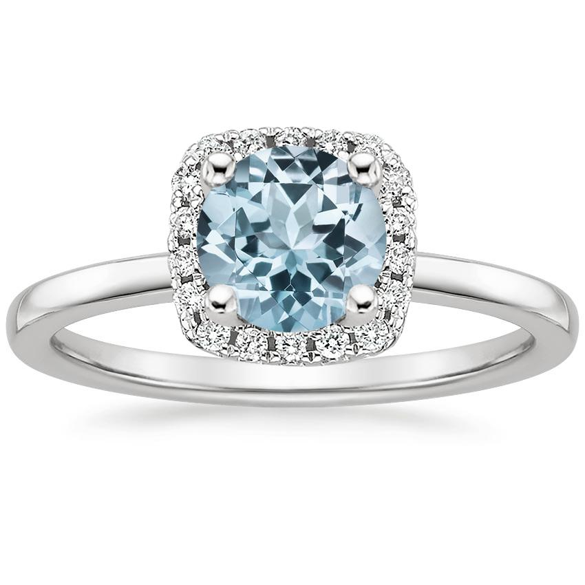 Aquamarine French Halo Diamond Ring in 18K White Gold