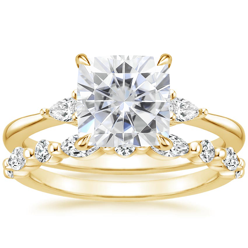 18KY Moissanite Aria Diamond Ring (1/10 ct. tw.) with Versailles Diamond Ring (3/8 ct. tw.), top view