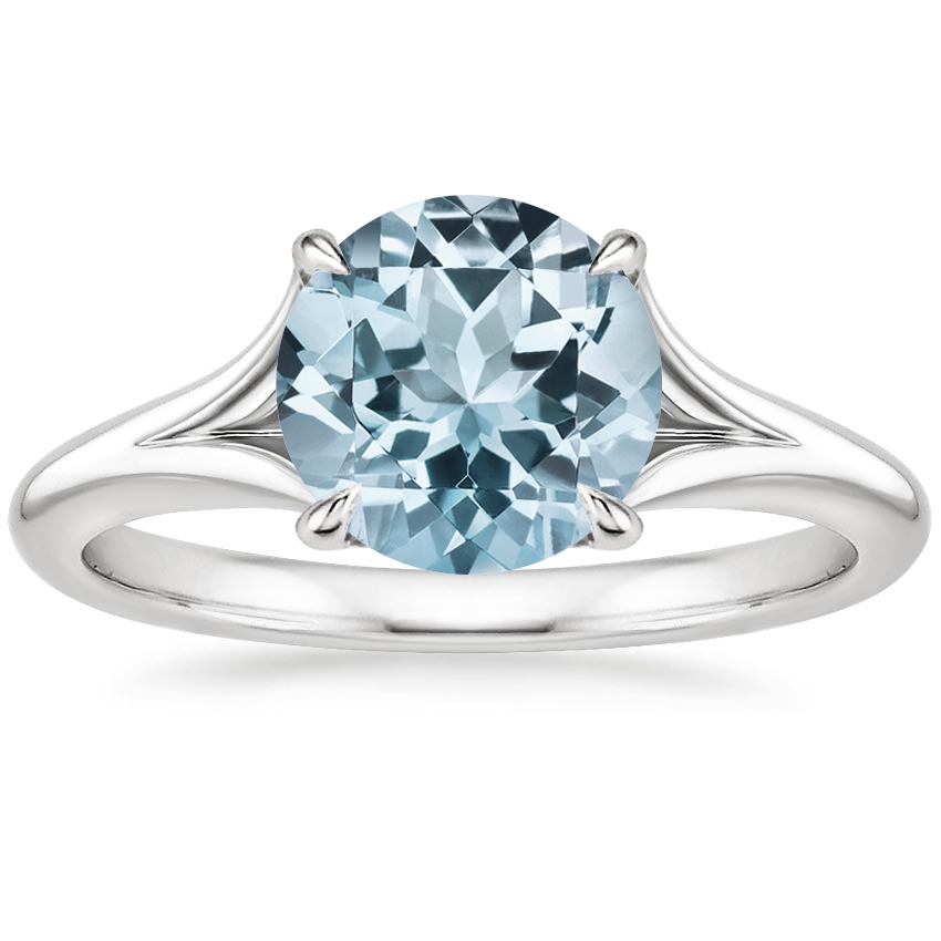 Aquamarine Reverie Ring with Surprise Sapphire Accents in 18K White Gold
