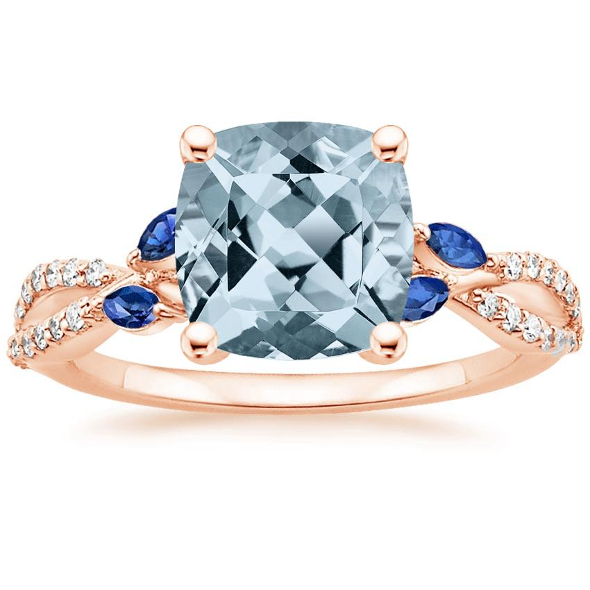 Rose Gold Aquamarine Luxe Willow Sapphire and Diamond Ring (1/8 ct. tw.)