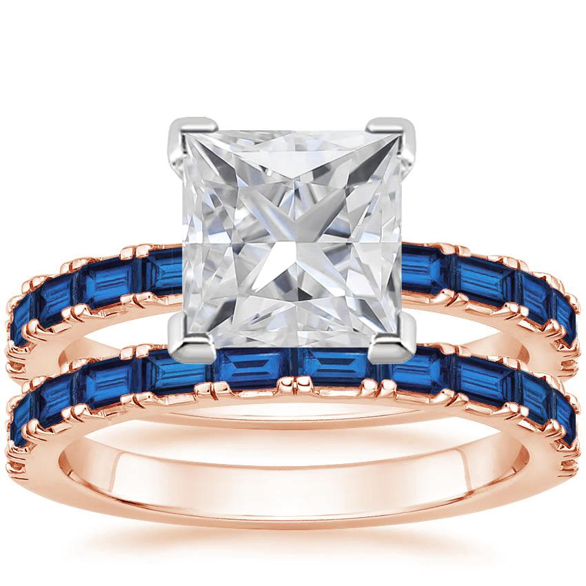14KR Moissanite Gemma Bridal Set with Sapphire Accents, top view