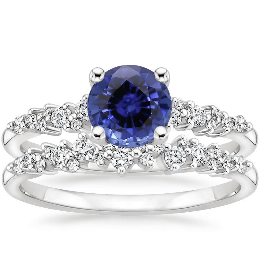 18KW Sapphire Aurora Diamond Bridal Set (1/3 ct. tw.), top view