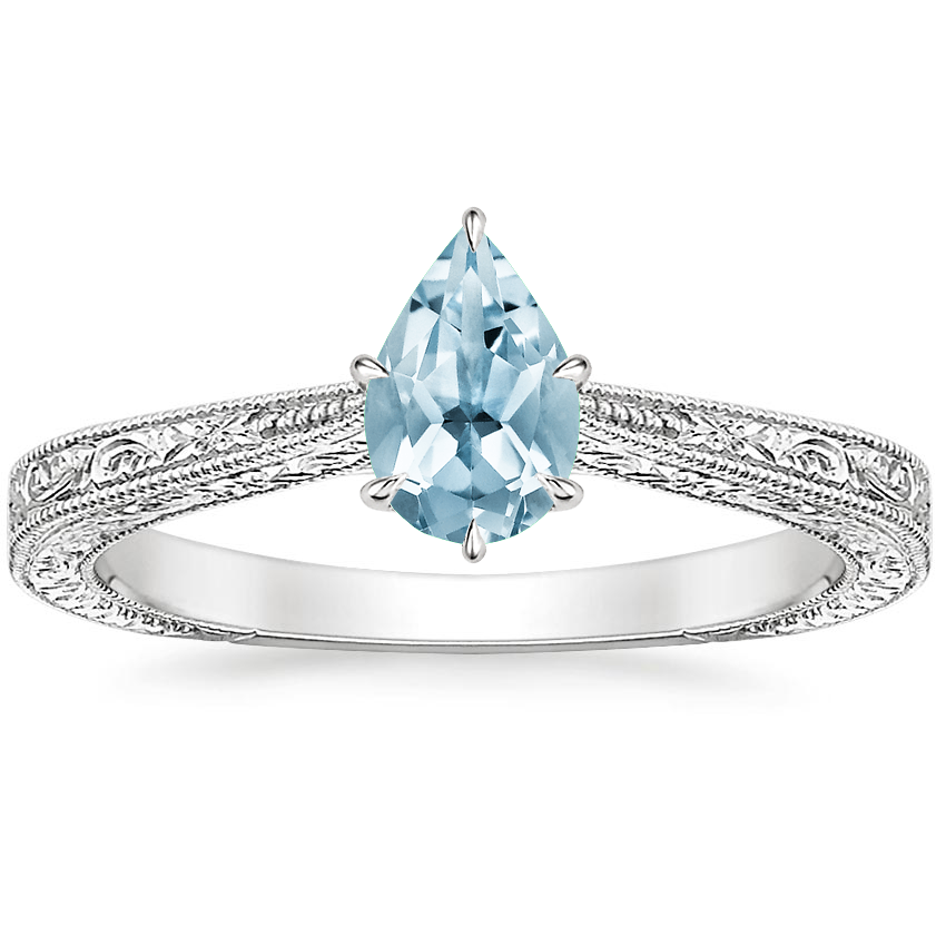 Aquamarine Elsie Ring in 18K White Gold