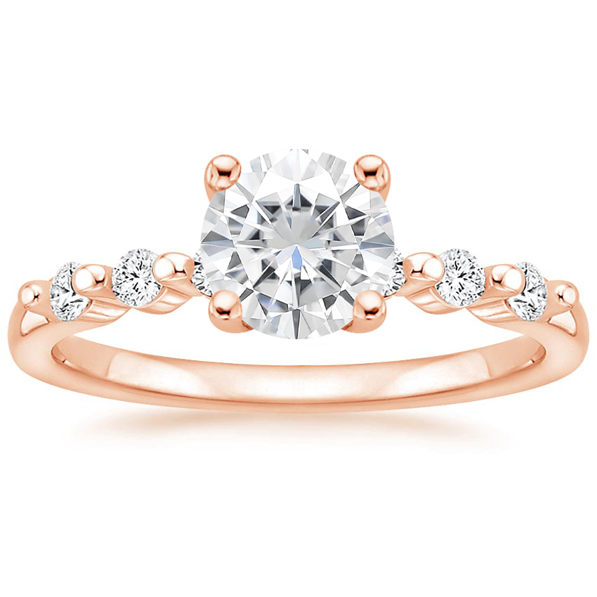 Rose Gold Moissanite Petite Marseille Diamond Ring (1/6 ct. tw.)