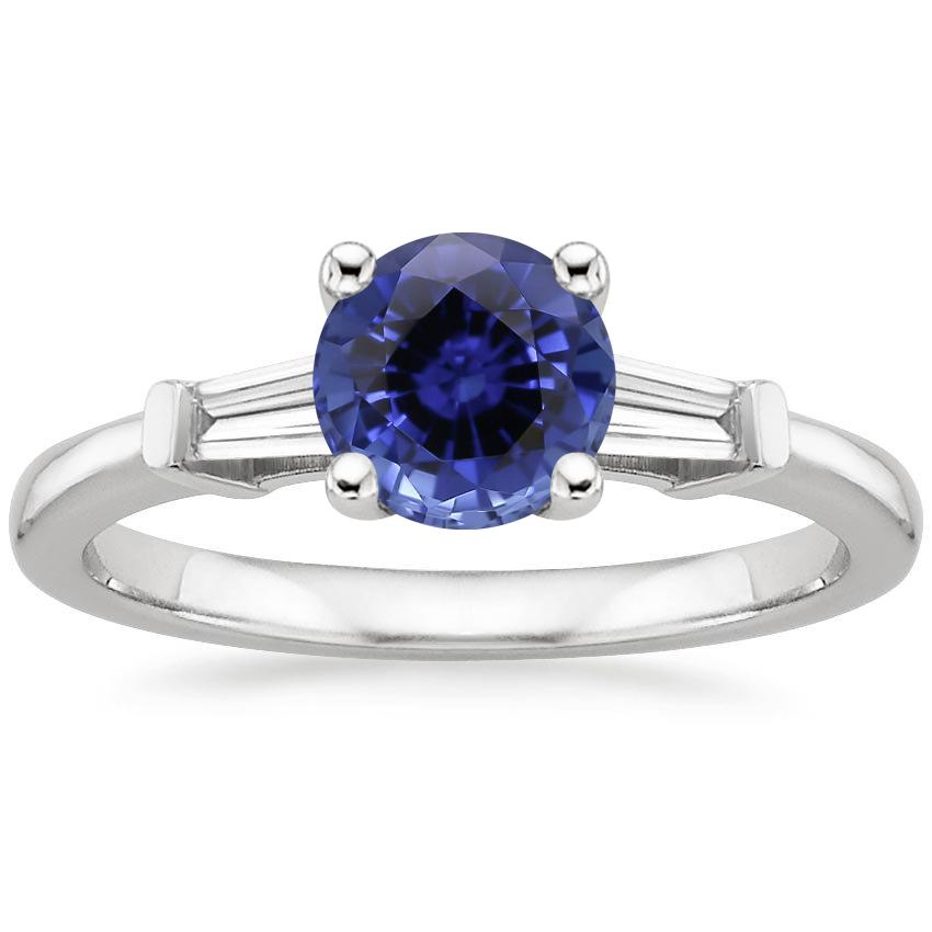 Sapphire Tapered Baguette Diamond Ring in 18K White Gold