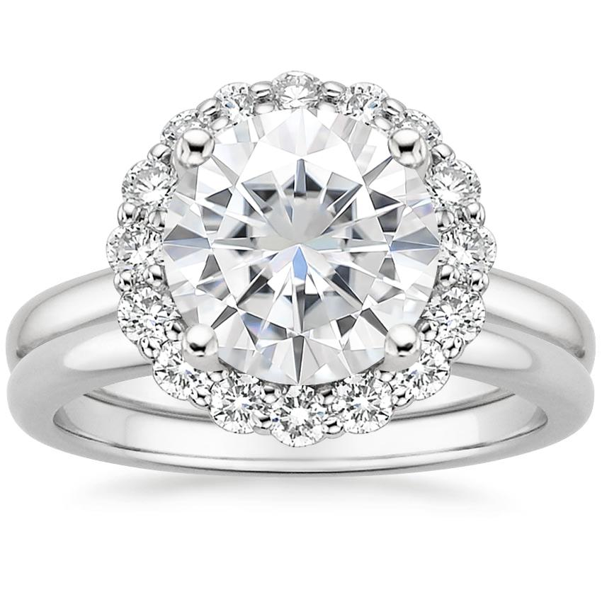 18KW Moissanite Lotus Flower Diamond Bridal Set (1/4 ct. tw.), top view