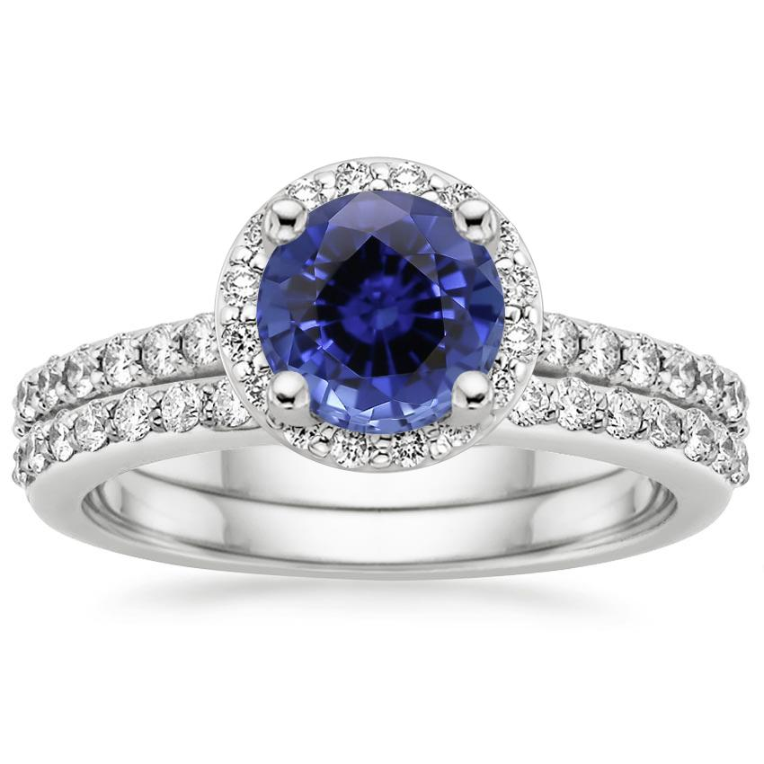 18KW Sapphire Halo Diamond Ring with Side Stones (1/3 ct. tw.) with Petite Shared Prong Diamond Ring (1/4 ct. tw.), top view