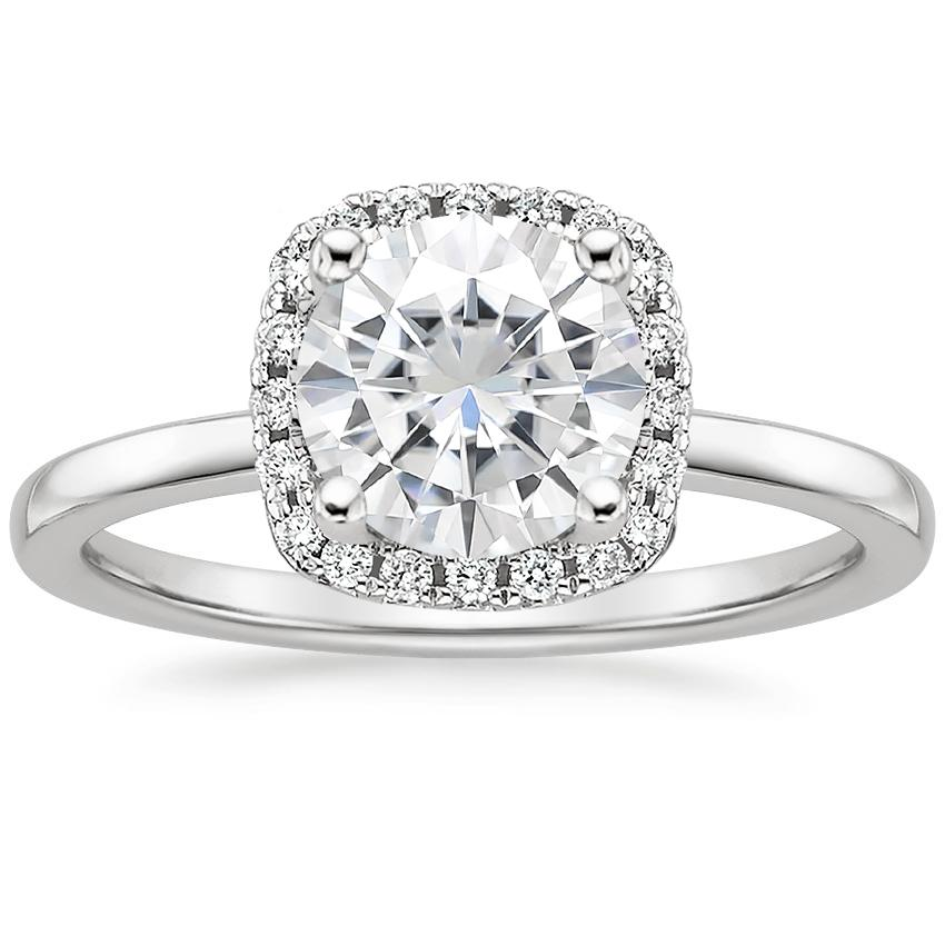 Moissanite French Halo Diamond Ring in 18K White Gold