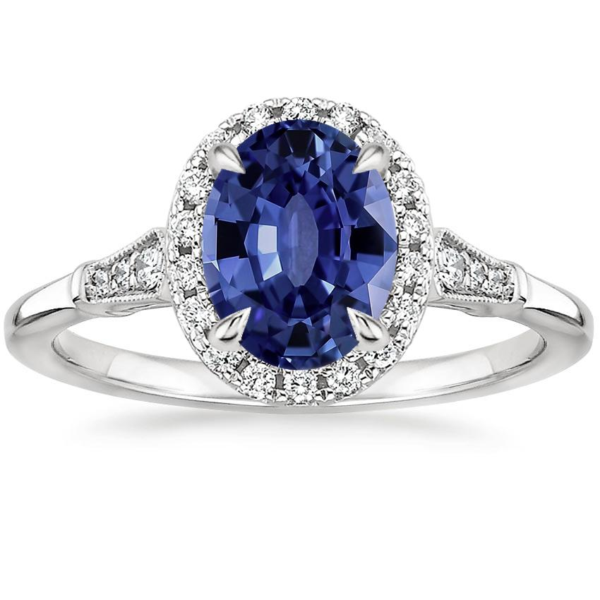 Sapphire Linden Diamond Ring in 18K White Gold
