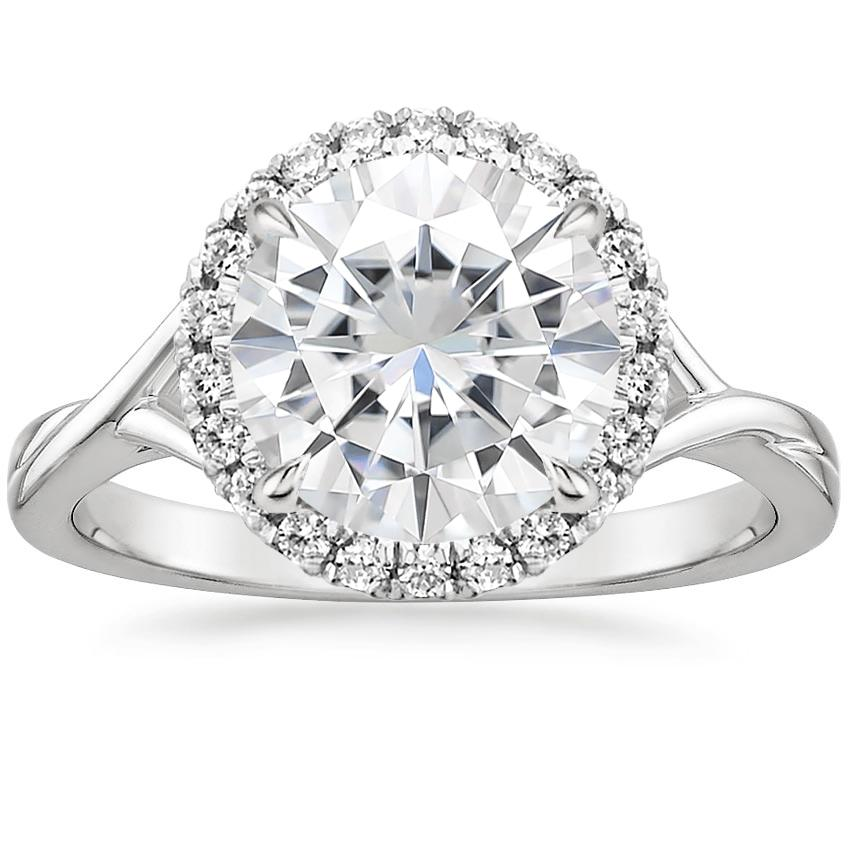 Moissanite Serendipity Diamond Ring in 18K White Gold