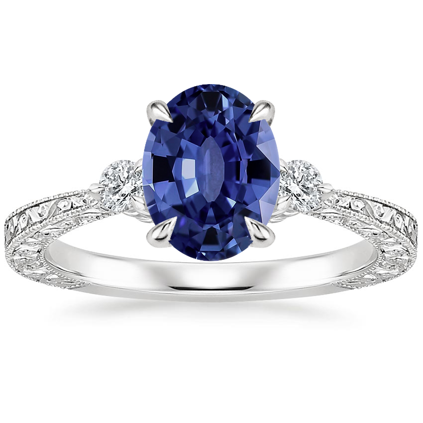 Sapphire Bristol Diamond Ring in 18K White Gold